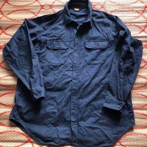 Vintage Woolrich Blue Herringbone Heavy Wool shirt